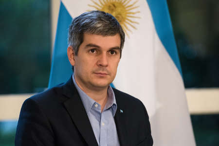 marcos: Olivos, Argentina - May 6, 2016: Chief of the Cabinet of Ministers of Argentina Marcos Pena during a press conference for the foreign press at the presidential residence.