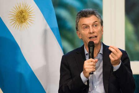 オリボス, アルゼンチン - 2016 年 5 月 6 日: 大統領のアルゼンチン マウリシオマ クリー オリボス、2016 年 5 月 6 日にブエノスアイレスで大統領官邸で 報道画像