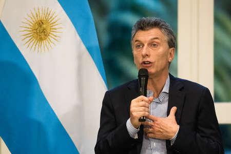 オリボス, アルゼンチン - 2016 年 5 月 6 日: 大統領のアルゼンチン マウリシオマ クリー オリボス、2016 年 5 月 6 日にブエノスアイレスで大統領官邸で外国の報道機関の記者会見。 写真素材 - 59111789