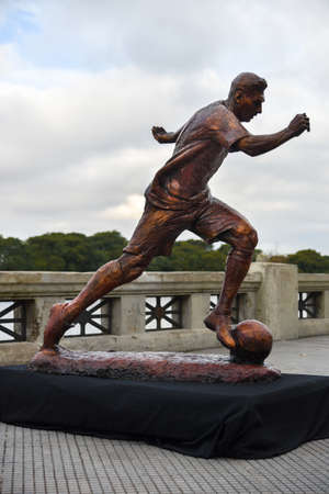 Buenos Aires, Argentina - Jun 28, 2016: The sculpture of the soccer star Lionel Messi at the Paseo de la Gloria in Buenos Aires.