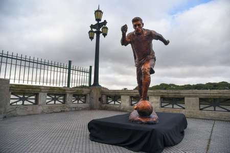 mesi: Buenos Aires, Argentina - Jun 28, 2016: The sculpture of the soccer star Lionel Messi at the Paseo de la Gloria in Buenos Aires.