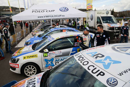 cup of russia: Moscow, Russia - Apr 18, 2015: VW Polo Cup display stand during the Rally Masters Show 2015 at the Krylatskoye District.