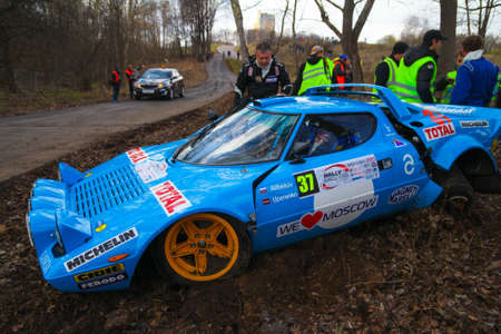 hf: Moscow, Russia - Apr 18, 2015: Crash of the Lancia Stratos HF russian driver Alibekov Alexandr and co-driver Uperenko Oleg during the Rally Masters Show 2015 at the Krylatskoye District.