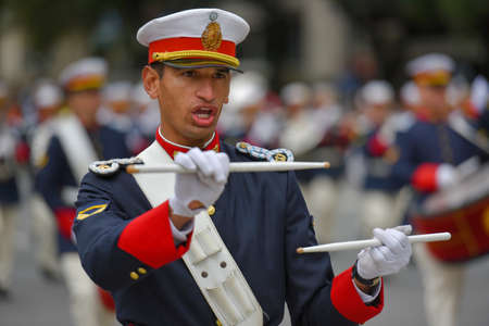 argentinean: Buenos Aires, Argentina - Jul 11, 2016: Member of the Argentine military band performs at the parade during celebrations of the bicentennial anniversary of Argentinean Independence day.