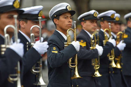 aerophone: Buenos Aires, Argentina - Jul 11, 2016: Members of the Argentine military band at the parade during celebrations of the bicentennial anniversary of Argentinean Independence day. Editorial