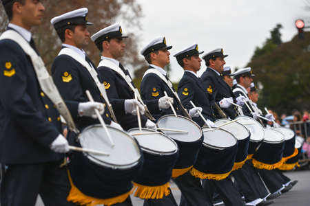 epaulettes: Buenos Aires, Argentina - Jul 11, 2016: Members of the Argentine military band perform at the parade during celebrations of the bicentennial anniversary of Argentinean Independence day. Editorial