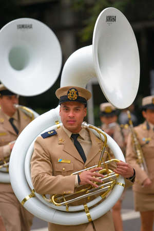 aerophone: Buenos Aires, Argentina - Jul 11, 2016: Member of the Argentine military band at the parade during celebrations of the bicentennial anniversary of Argentinean Independence day.