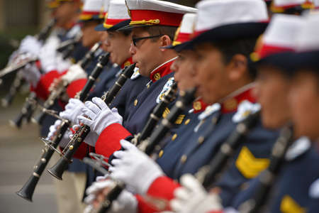 aerophone: Buenos Aires, Argentina - Jul 11, 2016: Members of the Argentine military band perform at the parade during celebrations of the bicentennial anniversary of Argentinean Independence day. Editorial