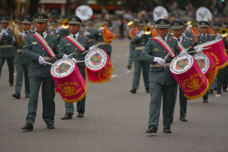 argentinean: Buenos Aires, Argentina - Jul 11, 2016: Members of the Bolivian military band perform at the parade during celebrations of the bicentennial anniversary of Argentinean Independence day. Editorial