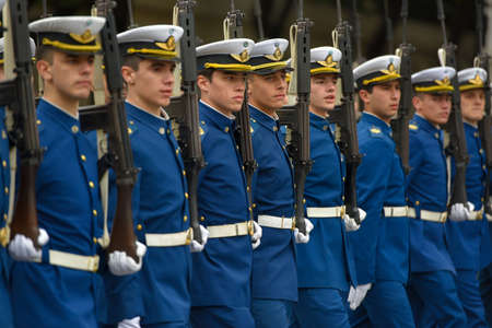argentinean: Buenos Aires, Argentina - Jul 11, 2016: Members of the Argentine air forces at the military parade during celebrations of the bicentennial anniversary of Argentinean Independence day.