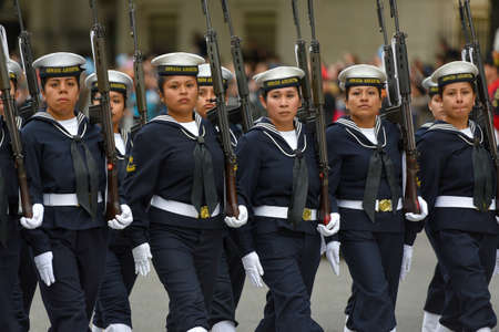 argentinean: Buenos Aires, Argentina - Jul 11, 2016: Argentine navy sailors at the military parade during celebrations of the bicentennial anniversary of Argentinean Independence day. Editorial