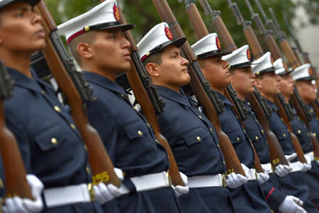 argentinean: Buenos Aires, Argentina - Jul 11, 2016: Members  of the Argentine navy at the military parade during celebrations of the bicentennial anniversary of Argentinean Independence day. Editorial