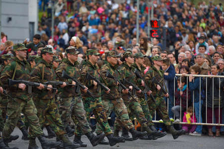 argentinean: Buenos Aires, Argentina - Jul 11, 2016: Argentine army forces at the military parade during celebrations of the bicentennial anniversary of Argentinean Independence day.