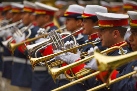 argentinean: Buenos Aires, Argentina - Jul 11, 2016: Members of the Argentine military band perform at the parade during celebrations of the bicentennial anniversary of Argentinean Independence day. Editorial