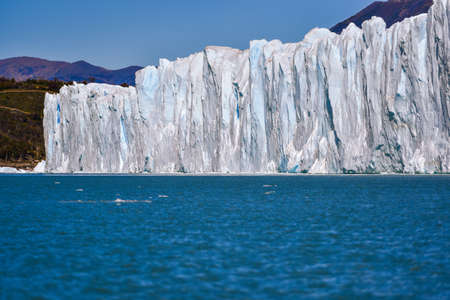 calafate: Day view from the water at the Perito Moreno glacier in Patagonia, Argentina. Stock Photo