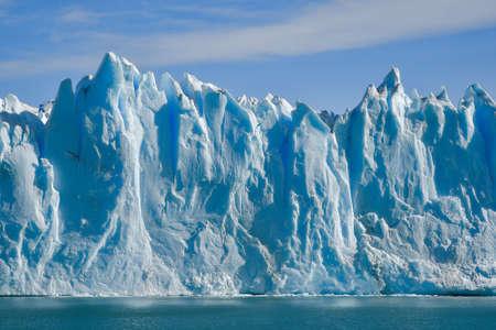 el calafate: Day view from the water at the Perito Moreno glacier in Patagonia, Argentina. Stock Photo