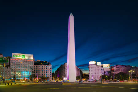 Buenos Aires, Argentina - 15 Aug, 2016: Night view of the Obelisk (El Obelisco), the most recognized landmark in the capital. Editorial