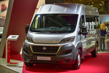 MOSCOW, RUSSIA - SEPTEMBER 8: The Fiat Ducato is shown at the% uFFFDCOMTRANS`15% uFFFD International Commercial Vehicle Auto Show at the International Exhibition Centre Crocus Expo