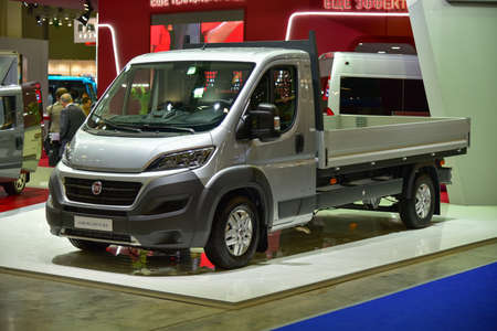 trucker: MOSCOW, RUSSIA - SEPTEMBER 8: The Fiat Ducato is shown at the% uFFFDCOMTRANS`15% uFFFD International Commercial Vehicle Auto Show at the International Exhibition Centre Crocus Expo