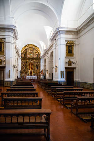 Buenos Aires, Argentina - Sept 23, 2016: Interior view of the the Church of Our Lady of the Pillar near the La Recoleta Cemetery in Capital Federal.