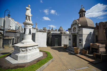 Buenos Aires, Argentina - Sept 23, 2016: View of a the monument of Governor of Buenos Aires Province Valentin Alsina at the La Recoleta Cemetery in Capital Federal.