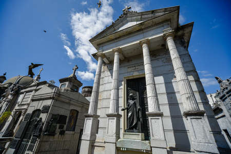 Buenos Aires, Argentina - Sept 23, 2016: View of a tomb with a Ñolonnade at the La Recoleta Cemetery in Capital Federal. Editorial