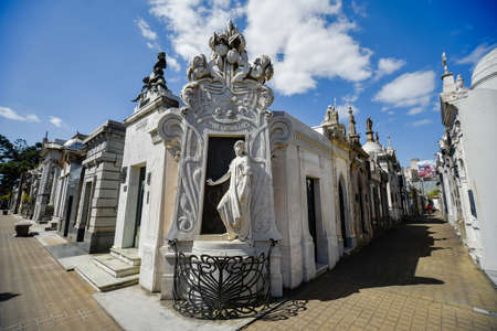 Buenos Aires, Argentina - Sept 23, 2016: View of the tomb of Rufina Cambaceres (center) at the La Recoleta Cemetery in Capital Federal. Editorial