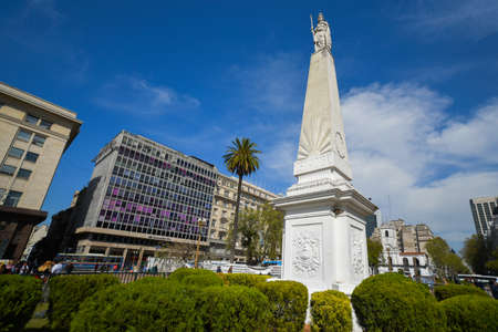 Buenos Aires, Argentina - Sept 15, 2016: May Pyramid at the Plaza de Mayo Square, is the oldest national monument in the City. Editorial