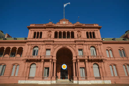 Buenos Aires, Argentina - Dec 19, 2015: The Casa Rosada (Pink House), official residence of the President of Argentina and seat of the Government at the Plaza de Mayo in Buenos Aires.