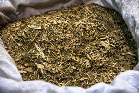 yerba mate: Tradicional té de yerba mate sudamericana. enfoque selectivo Foto de archivo
