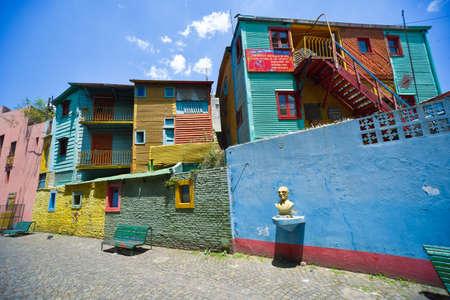 Buenos Aires, Argentina - Nov 29, 2016: Colorful buildings of Caminito street in La Boca neighborhood - Buenos Aires, Argentina.