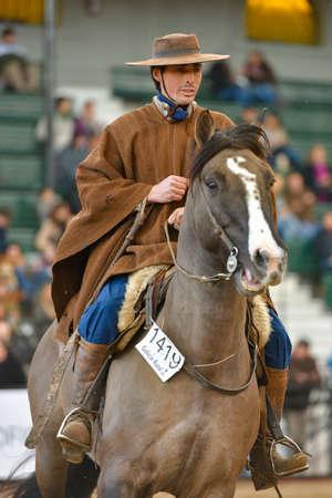 Buenos Aires, Argentina - Jul 16, 2016: A gaucho cowboy riding a horse during a show at the Rural Exhibition. Banco de Imagens - 71117822