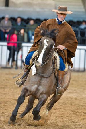 Buenos Aires, Argentina - Jul 16, 2016: A gaucho cowboy riding a horse during a show at the Rural Exhibition. Banco de Imagens - 71117823
