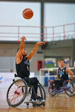 paralympic: Buenos Aires, Argentina. 27 Jan, 2017. Brazil vs. Argentina wheelchair basketball game during the Americas Championship 2017.
