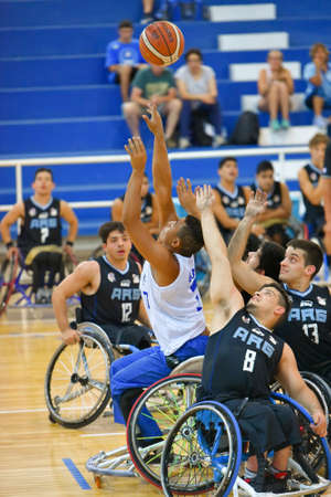 Buenos Aires, Argentina. 27 Jan, 2017. Brazil vs. Argentina wheelchair basketball game during the Americas Championship 2017.