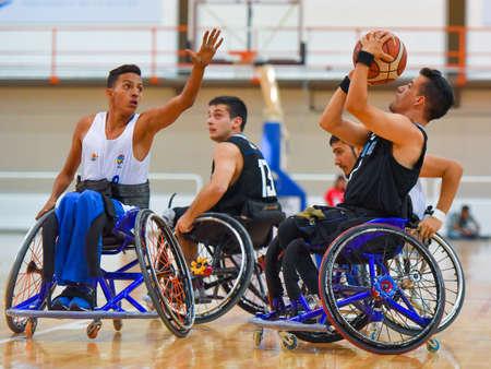 Buenos Aires, Argentinië. Jan 27, 2017 Brazilië vs Argentinië rolstoel basketbal spel tijdens de Amerika's Championship 2017.