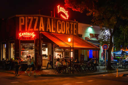 Buenos Aires, Argentina - 11 Feb, 2017: Night view of the Kentucky pizzeria at the Palermo Soho neighborhood.