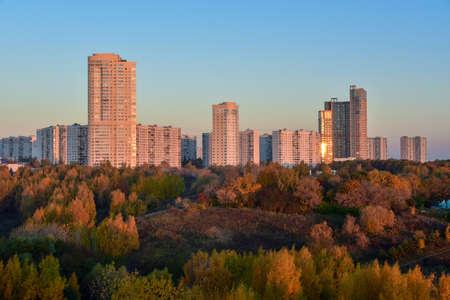 View of the Krylatskiye Kholmy in front of the Krylatskoye District. 写真素材