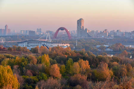 Skyline view to the Khoroshevo-Mnevniki District at dawn. 写真素材