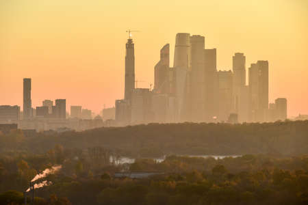 Skyline view of the Moscow International Business Center at dawn.