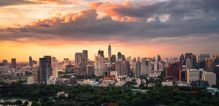 silom: sunset bangkok city, silom, thailand Stock Photo