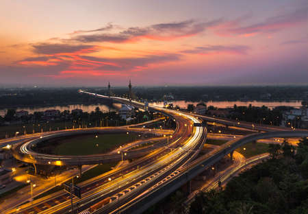 nonthaburi: Bridge Nonthaburi sunset Stock Photo