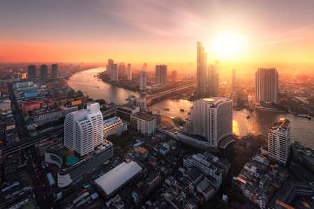 bangkok landmark: Chao Phraya River sunlight bangkok city Stock Photo