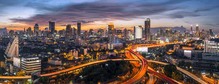trafic: panorama bangkok city sunset trafic Editorial