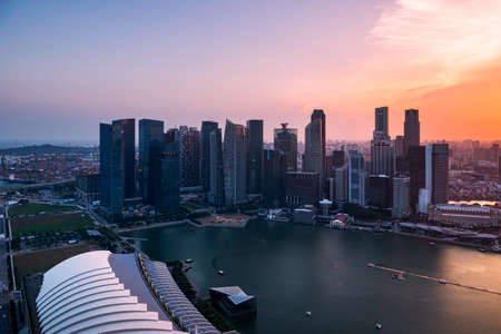 marina bay sand: downtown singapore sunset daylight top view from Marina bay sand singapore 2015