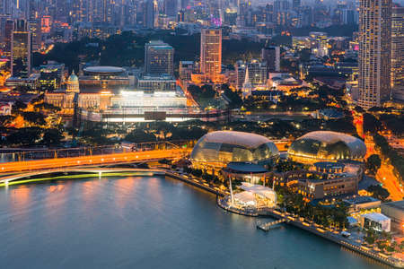 Esplanade singapore top view cityscape 2015