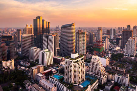 city park skyline: sunlight bangkok city skyline Stock Photo