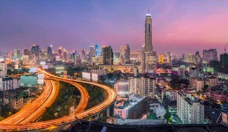 trafic: highway Bangkok city twilight panoramic Thailand top view