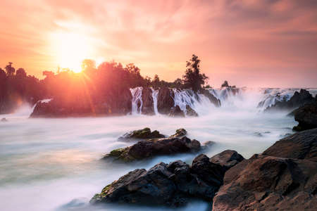 khonphapheng Waterfall sunlight Laos Banco de Imagens