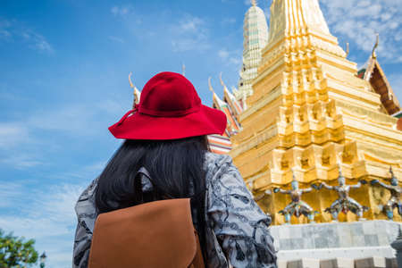 Young tourist traveling in Thai temple Bangkok, Thailand